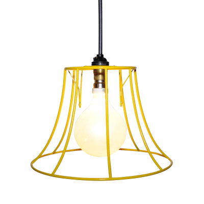 "Round Skeleton Lampshade 10"", Yellow"