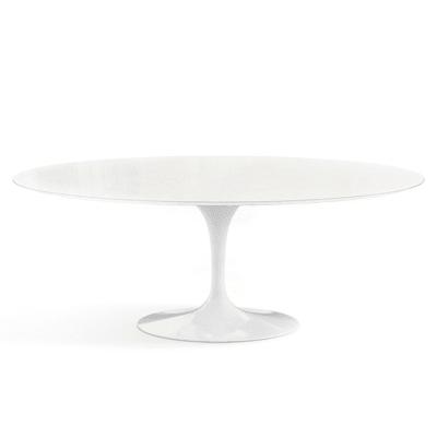 Saarinen Oval Dining Table Black Base, 198cm, Marble Verde Alpi Satin Finish