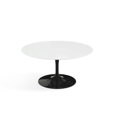 Saarinen Round Coffee Table Black  Base, Marble Verde Alpi Satin Finish, Ø 51 cm