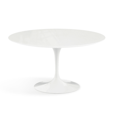 Saarinen Round Coffee Table Outdoor Black Base, White Acrylic Stone top, Ø101 cm