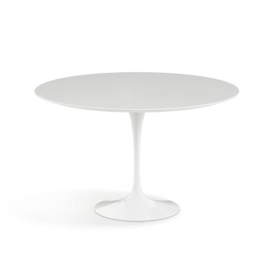 Saarinen Round Dining Table 91cm, Black Rilsan Base, Marble Verde Alpi Satin Finish