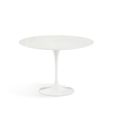 Saarinen Round Dining Table - Outdoor 107cm, White Rilsan Base, Black Acrylic Stone Top