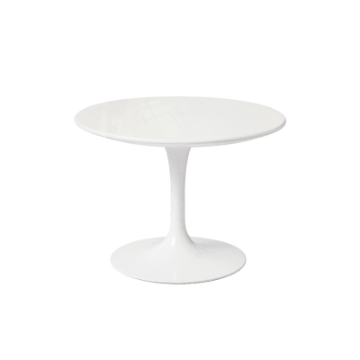 Saarinen Round Side Table - Outdoor White Base and Top
