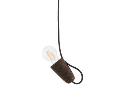 Sininho Pendant Light Dark Cork Black wire