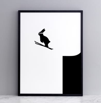 Ski Jumping Rabbit Screen Print Small