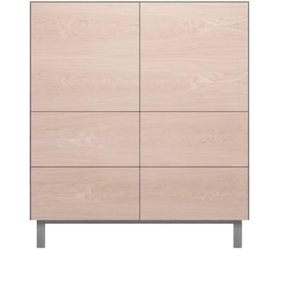 Square Cabinet 2 Doors & 4 Drawers Oak, Light Grey