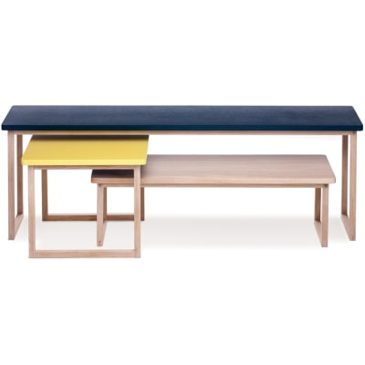 Strada set of 3 tables Petrol Blue/Yellow/Latte