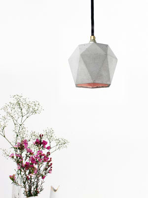 [T2] Pendant Light Triangle Light Grey Concrete, Copper Plating