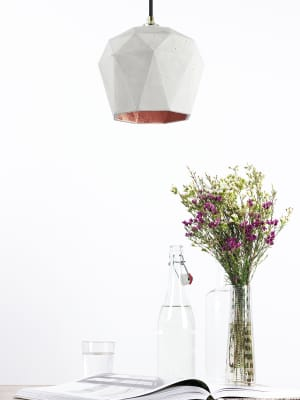 [T3] Pendant Light Triangle Light Grey Concrete, Copper Plating