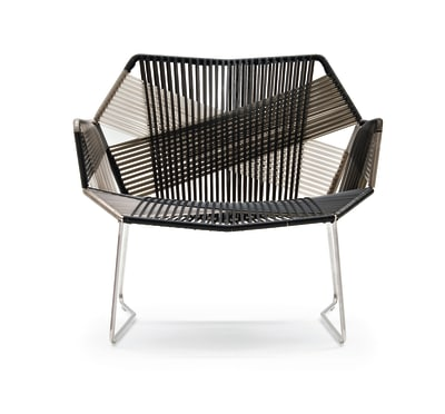 Tropicalia Armchair with Arms Silver, Artificial Leather
