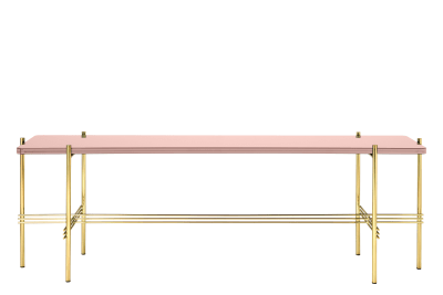 TS Rectangular Console Table with One Glass Plate Gubi Glass Vintage Red, Gubi Metal Brass