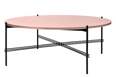 TS Round Coffee Table with Glass Top - Black Frame Vintage Red Top and Black Frame, Ø 105 x 40 cm