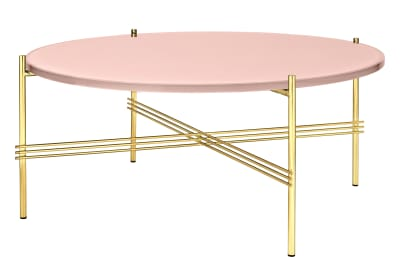 TS Round Coffee Table with Glass Top - Brass Frame Gubi Glass Vintage Red, Gubi Metal Brass, Ø80x35 cm