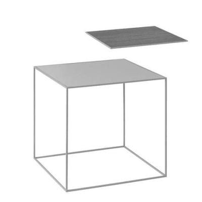 Twin Table - Square Cool Grey & Black Stained Ash, 42 x 42 cm, Grey Frame