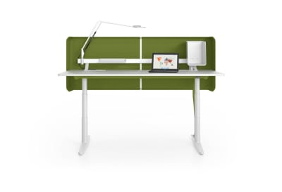 Tyde Meeting Sit-stand Meeting Table, 320 x 140 melamine soft light, with 2x cable outlets PORT - aluminium soft light powder-coated / plastic soft light, 1x Current Module power, 1x Current Module power, white powder-coated, polyester fleece green, infin