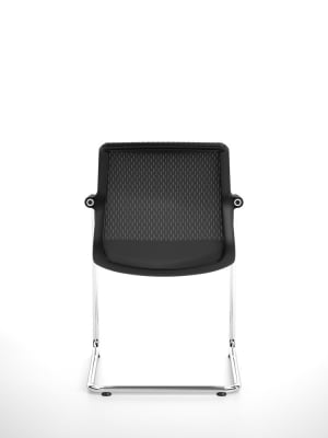 Unix Chair Cantilever Silk Mesh 24 soft grey, 30 basic dark, 04 glides for carpet, non-stacking
