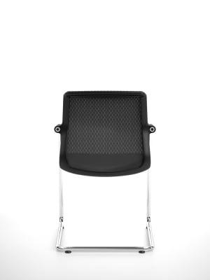 Unix Chair Cantilever Silk Mesh 24 soft grey, 30 basic dark, 04 glides for carpet, non-stacking