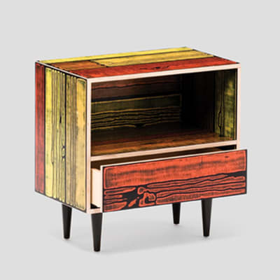 Wrongwoods Night Table - L58.5 Yellow with Red