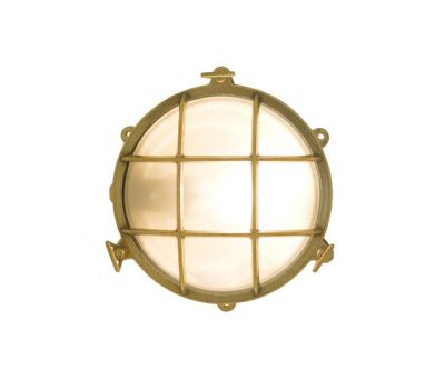 7029 Brass Bulkhead with External Fixing via Feet, Polished Brass by Davey Lighting Limited