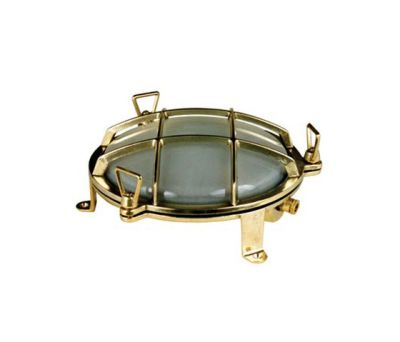 7030 Brass Bulkhead with External Fixing via Feet, Polished Brass by Davey Lighting Limited