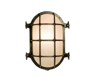 7034 Oval Brass Bulkhead with Internal Fixing, Weathered Brass by Davey Lighting Limited