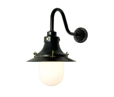 7125 Ship's Small Decklight, Wall Light, Painted Black, Opal Glass by Davey Lighting Limited