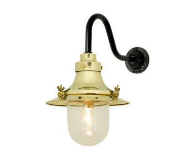 7125 Ship's Small Decklight, Wall Light, Polished Brass, Clear Glass by Davey Lighting Limited