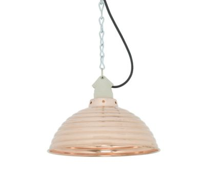 7170 Spun Ripple with Suspension Lampholder, Polished Copper by Davey Lighting Limited