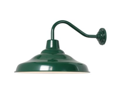 7200 School Wall Light, Painted Green, White Interior by Davey Lighting Limited