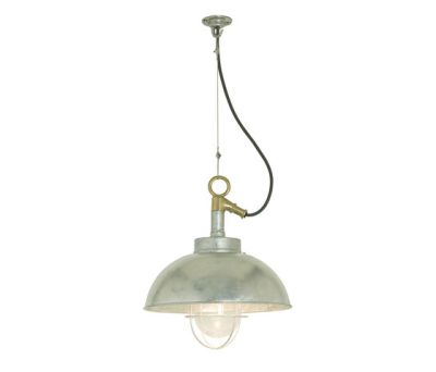 7222 Shipyard Pendant, Galvanised, Clear Glass by Davey Lighting Limited