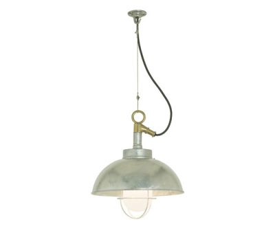 7222 Shipyard Pendant, Galvanised, Frosted Glass by Davey Lighting Limited