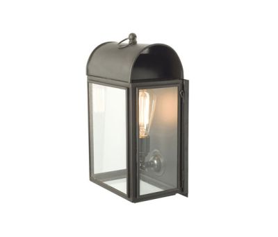 7250 Domed Box Wall Light, Weathered Brass, Clear Glass by Davey Lighting Limited