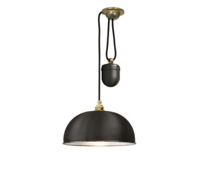 7300 Dome Rise & Fall Pendant, Black, White Interior by Davey Lighting Limited