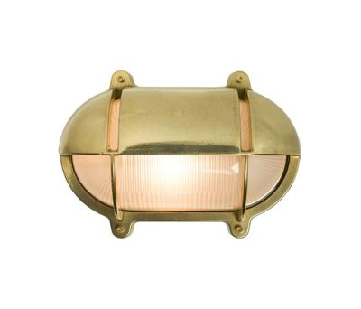 7434 Oval Brass Bulkhead With Eyelid Shield, Large, Natural Brass by Davey Lighting Limited