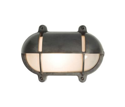7434 Oval Brass Bulkhead With Eyelid Shield, Large, Weathered Brass by Davey Lighting Limited