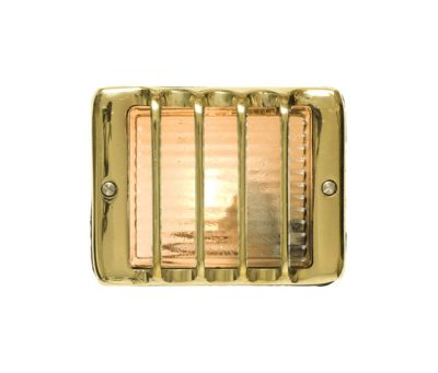7576 Guarded Step Light, E14, Polished Brass by Davey Lighting Limited