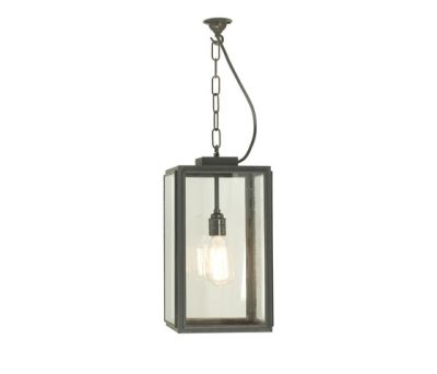 7638 Small Square Pendant, Closed Top, Weathered Brass, Clear Glass by Davey Lighting Limited