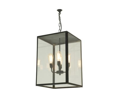 7638 Square Pendant, XL & 4 L/H, Closed Top, Weathered Brass, Clear Glass by Davey Lighting Limited