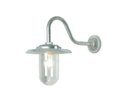 7677 Exterior Bracket Light, 100W, Swan Neck, Galvanised, Clear Glass by Davey Lighting Limited