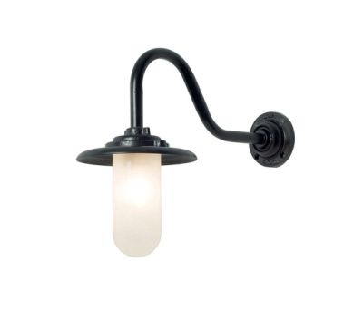 7677 Exterior Bracket Light, 60W, Swan Neck, Painted Black, Frosted Glass by Davey Lighting Limited