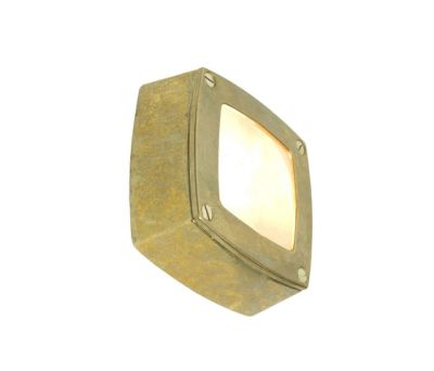 8139 Wall Light Square, Plain Bezel, Brass by Davey Lighting Limited