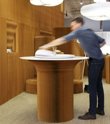 cantilever standing table circular top   natural kraft paper by molo