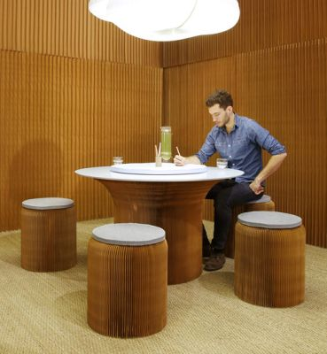 cantilever table circular top | natural kraft paper by molo