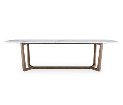 Concorde table by Poliform 218.5x108x74cm,cenere oak,matt bianco carrara