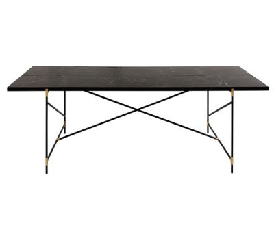 Dining Table 230 BRASS on BLACK - Black Marble by HANDVÄRK