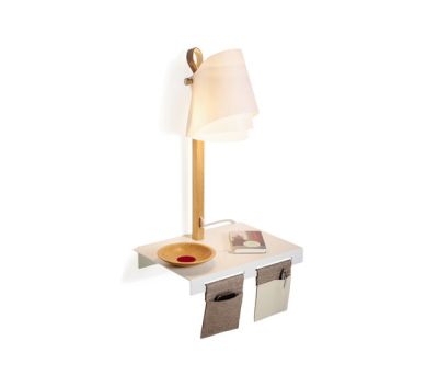 FLÄKS | Shelf with built-in lamp by Domus