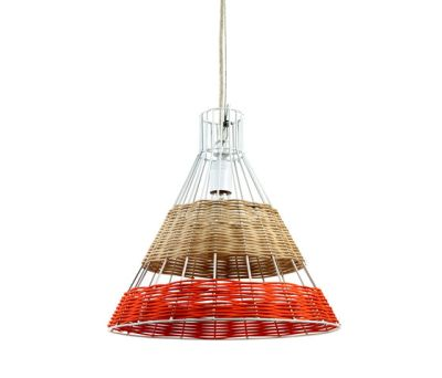 Hanging Lamp Rattan white/red by Serax
