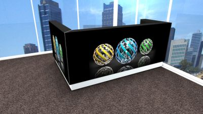 Linea Black Linea reception desk with graphic by MDD