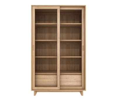 Oak Wave book rack - 2 sliding glass doors - 2 drawers