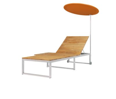 Oko Lounge sun lounger with tray & shade by Mamagreen